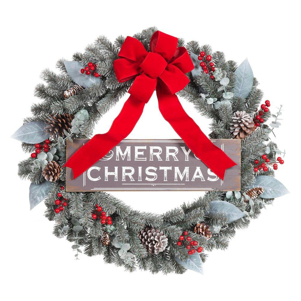 30 in. Snowy Pine Artificial Wreath with Merry Christmas Sign and
