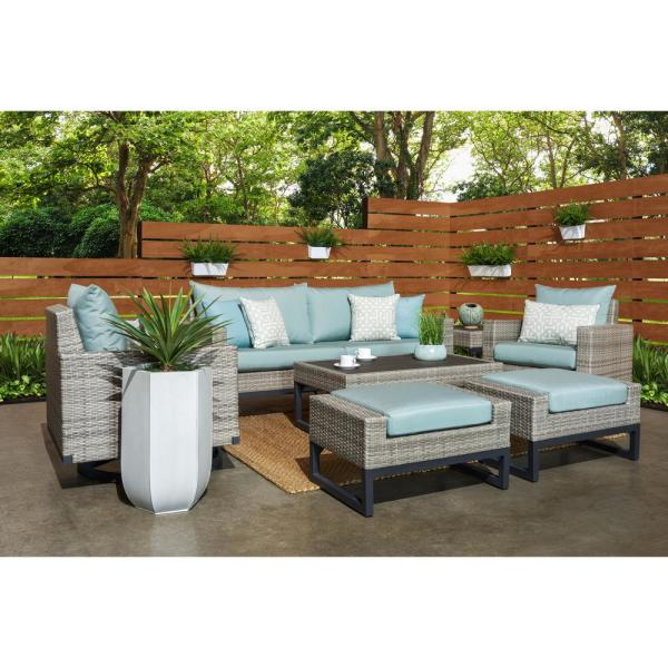 Milo Grey 7-Piece Wicker Motion Patio Deep Seating Conversation Set with Sunbrella Spa Blue Cushions