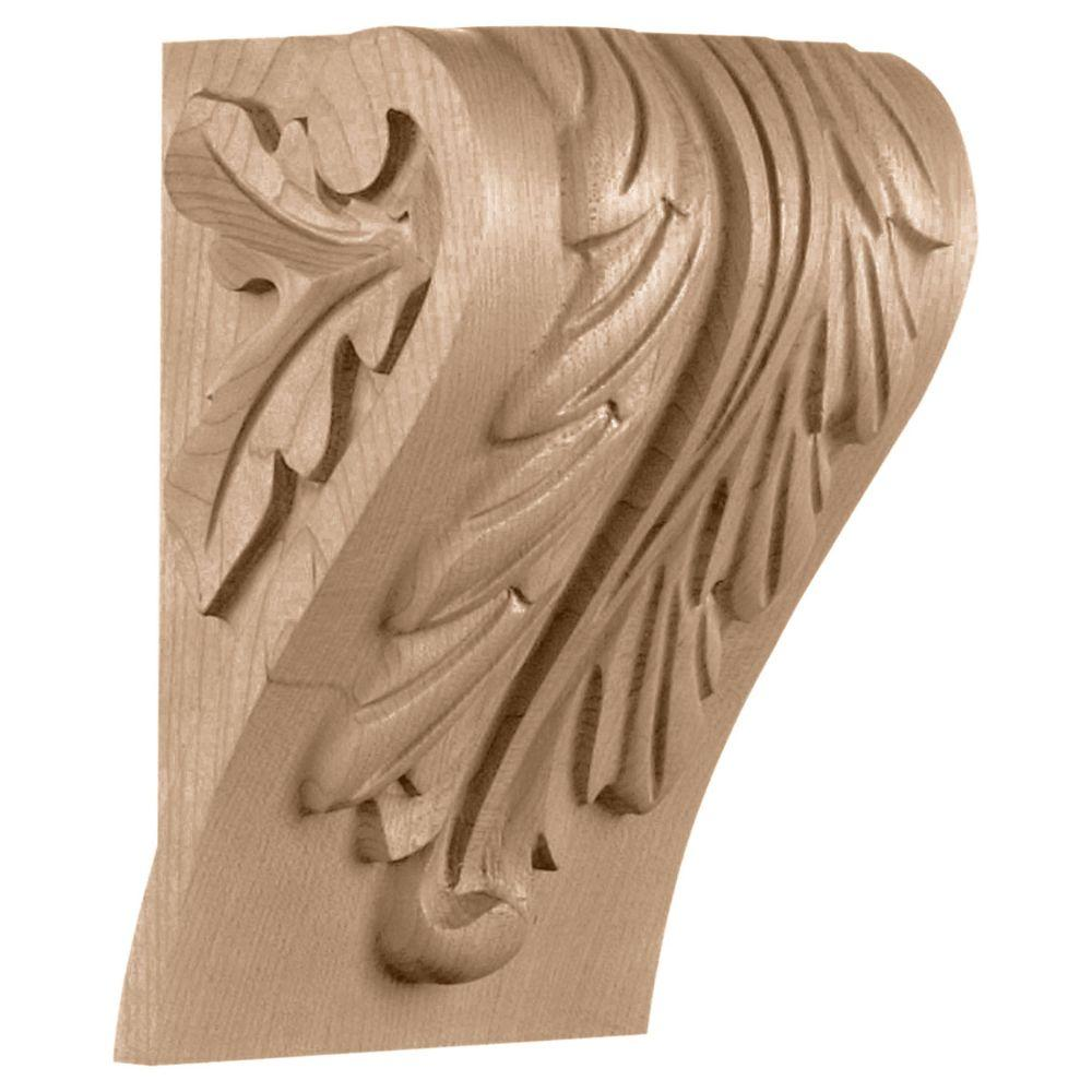 Ekena Millwork 5-1/4 in. x 4-1/2 in. x 7-1/3 in. Maple Small Block Acanthus Leaf Corbel