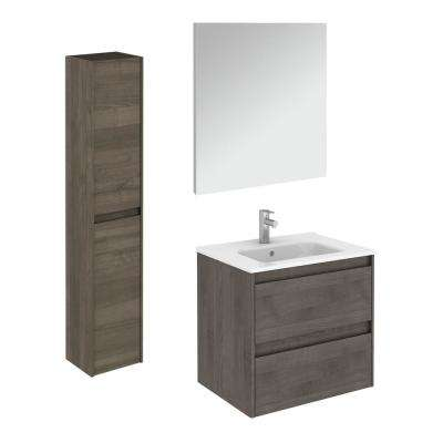 23.9 in. W x 18.1 in. D x 22.3 in. H Bathroom Vanity Unit in Samara Ash with Mirror and Column