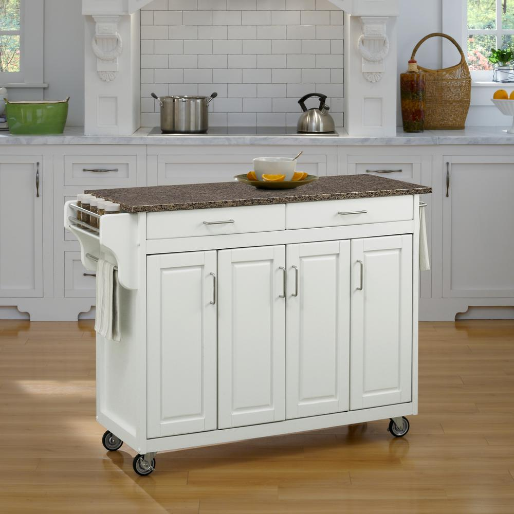 Crosley White Kitchen Cart With Natural Wood Top Kf30021ewh The Home Depot