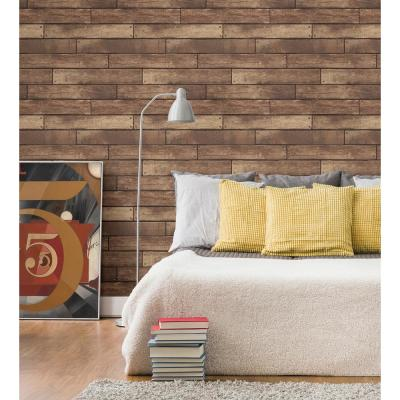 Weathered Brown Nailhead Plank Paper Strippable Roll (Covers 56.4 sq. ft.)