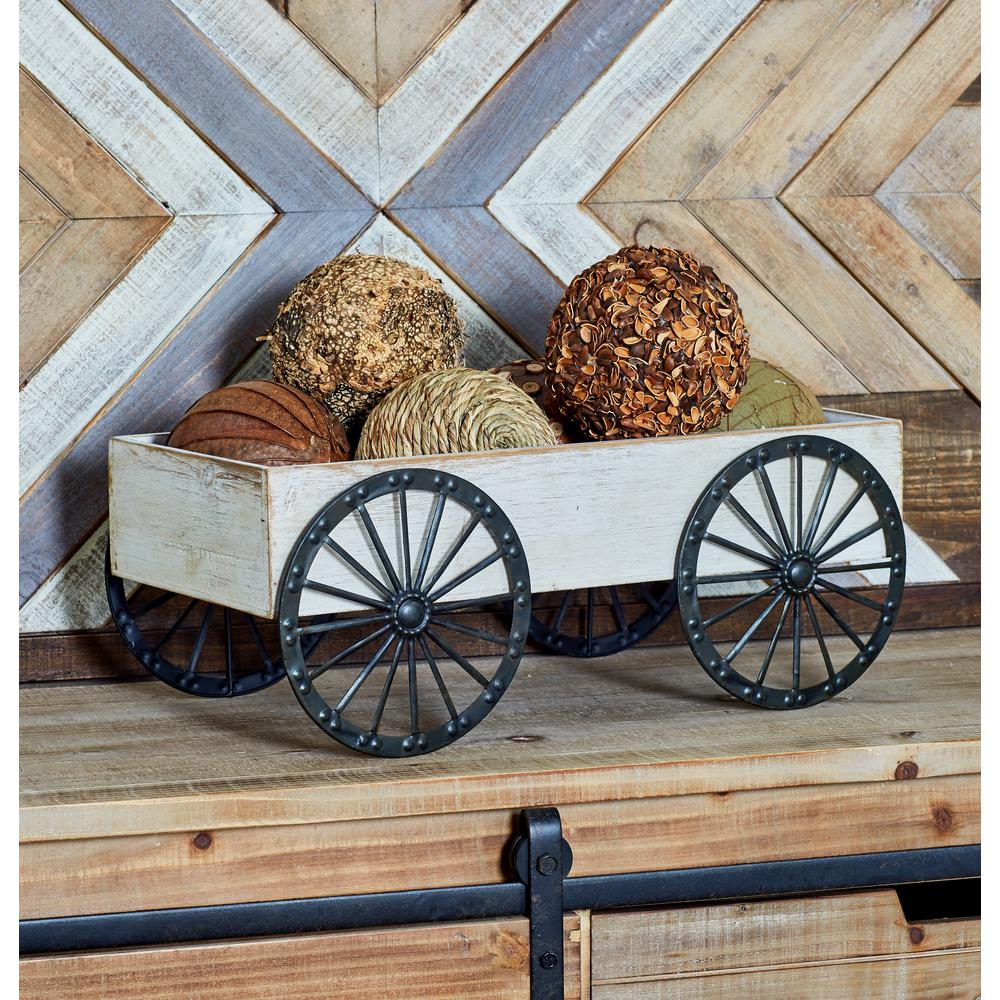 Distressed White Rectangular Wooden Garden Cart with Spoked Wheels