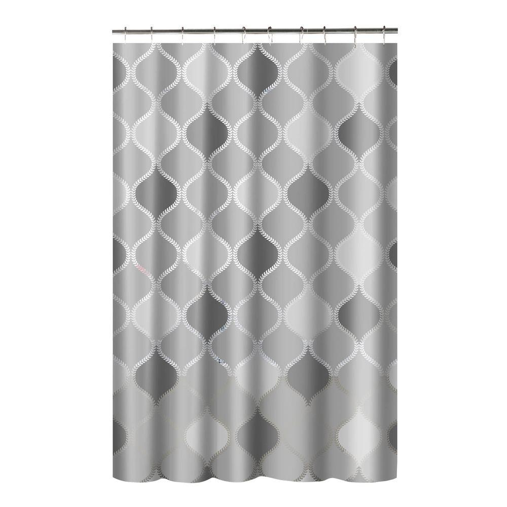 L Shower Curtain With Metal Roller Hooks In Gray