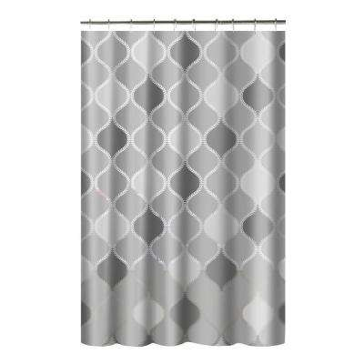 Printed PEVA Lisse 70 in. W x 72 in. L Shower Curtain with Metal Roller Hooks in Gray