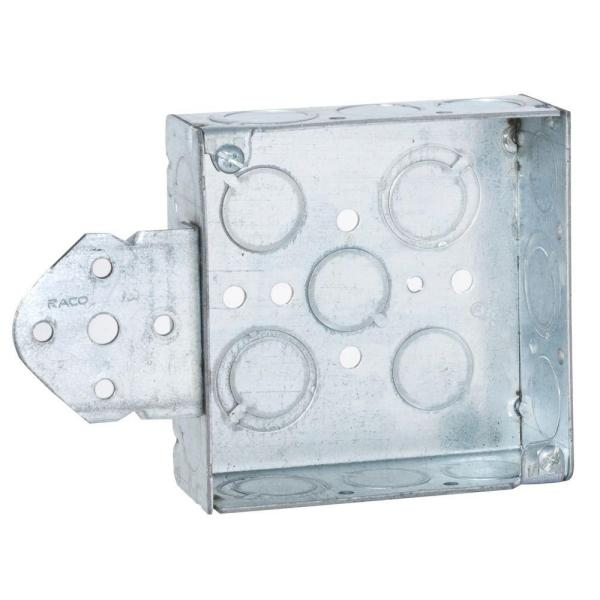 4 in. Square Welded Box, 1-1/2 in. Deep with 1/2 and 3/4 in. TKO's and B Bracket (10-Pack)
