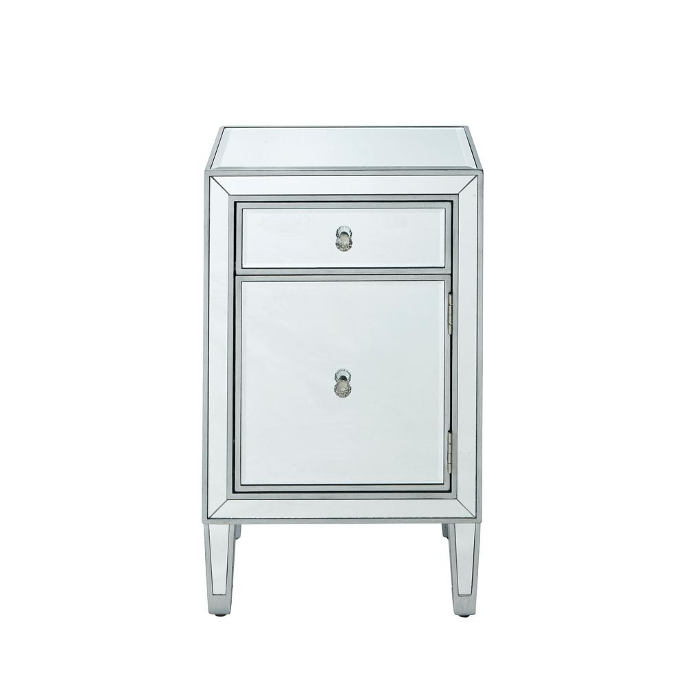 Antique Silver Paint Finish Nightstand With 1 Drawer Door