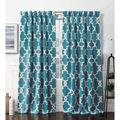 Ironwork HT Teal Blackout Hidden Tab Top Curtain Panel - 52 in. W x 84 in. L (2-Panel)