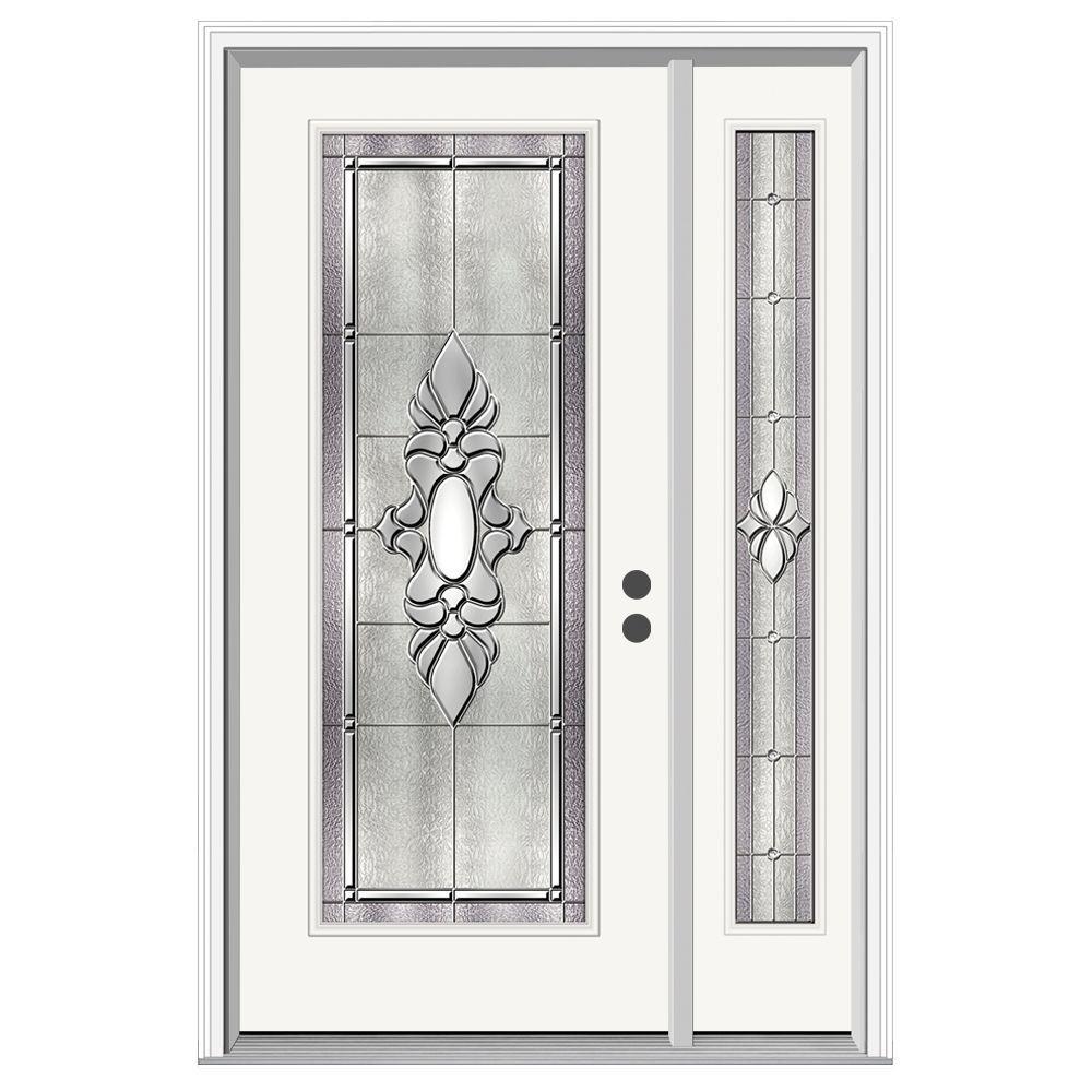 52 in. x 80 in. Full Lite Langford Primed Steel Prehung Left-Hand Inswing Front Door with Right-Hand Sidelite