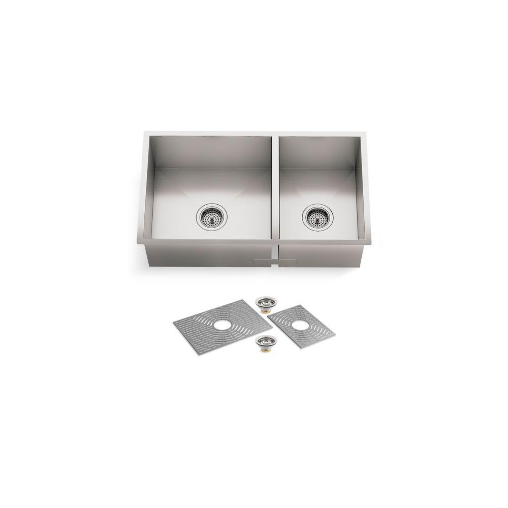 Ludington Undermount Stainless Steel 32 in. 60/40 split Double Bowl Kitchen Sink Kit