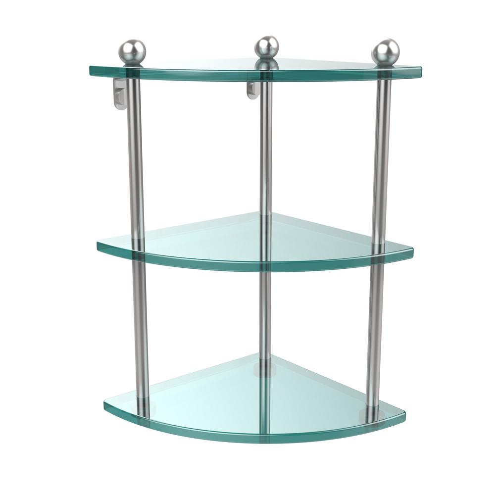 Allied Brass 8 in. L x 15 in. H x 8 in. W 3-Tier Corner Clear Glass ...