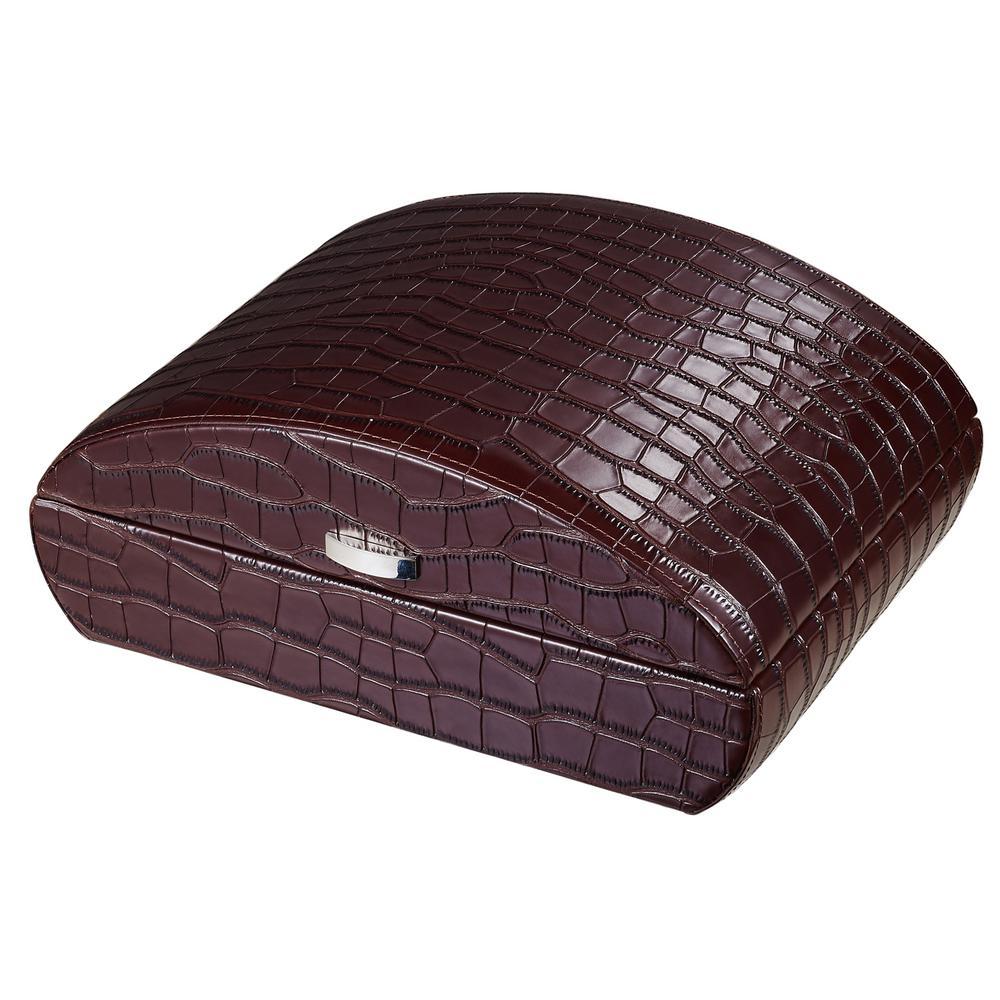 Blake Crocodile Pattern Brown Leather Humidor