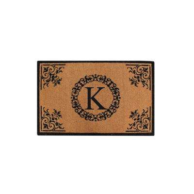 A1HC Hand Crafted Floral 30 in. x 48 in. Monogrammed K Entry Double Door Mat