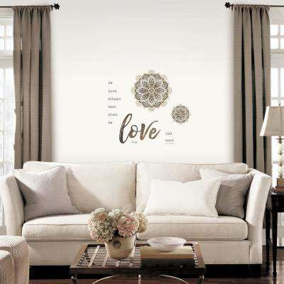 Multi-shades Taupe Medallion Love Peel and Stick Wall Decals (2-Sheets)