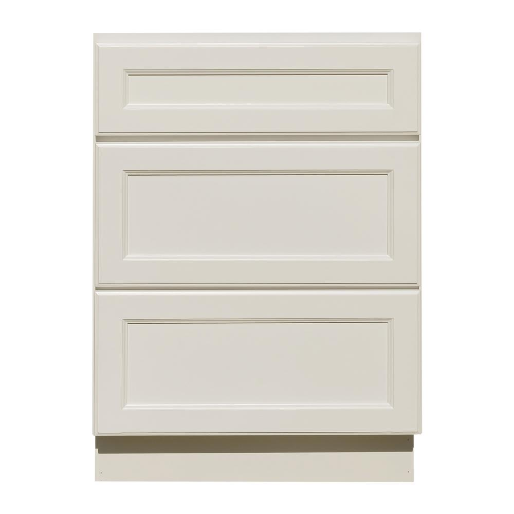 La Newport Embled 24x34 5x24 In Base Cabinet With 3 Drawers Clic White