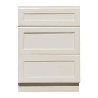 La. Newport Assembled 36x34.5x24 in. Base Cabinet with 3-Drawers in Classic White
