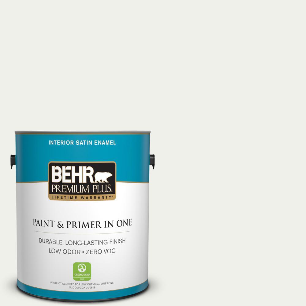 BEHR Premium Plus 1-gal. #W-F-710 Hushed White Zero VOC Satin Enamel Interior Paint