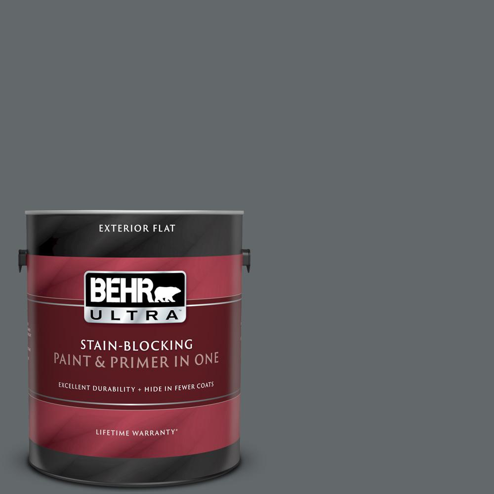 Behr Ultra 1 Gal Ppu26 02 Imperial Gray Flat Exterior Paint And Primer In One 485301 The Home Depot