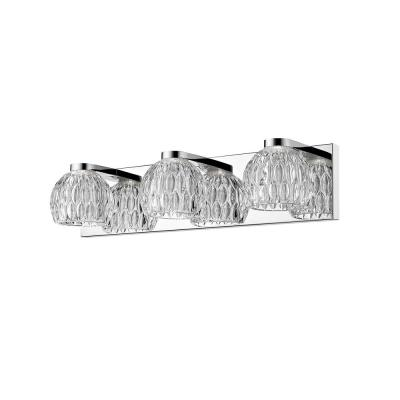 Malina 40-Watt Equivalent Chrome Integrated LED Bath Light with Clear Glass Shade