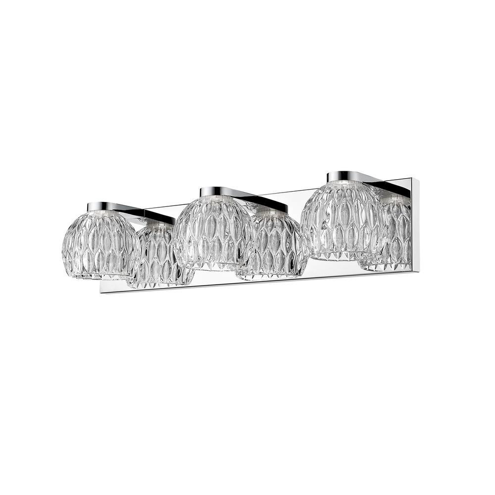 Malina 40-Watt Equivalent Chrome Integrated LED Bath Light with Clear Glass Shade