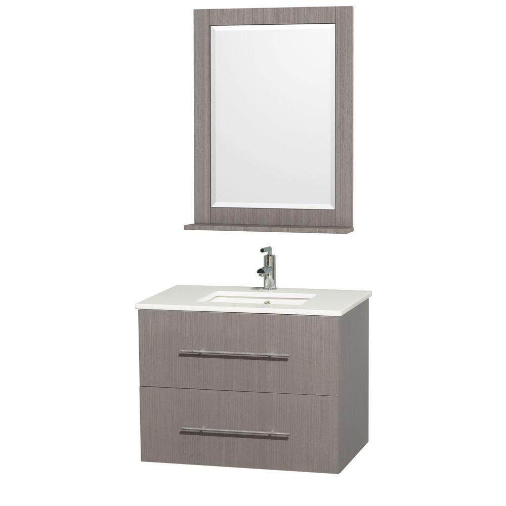 Wyndham Centra 30 in. Vanity in Grey Oak with Man-Made St...