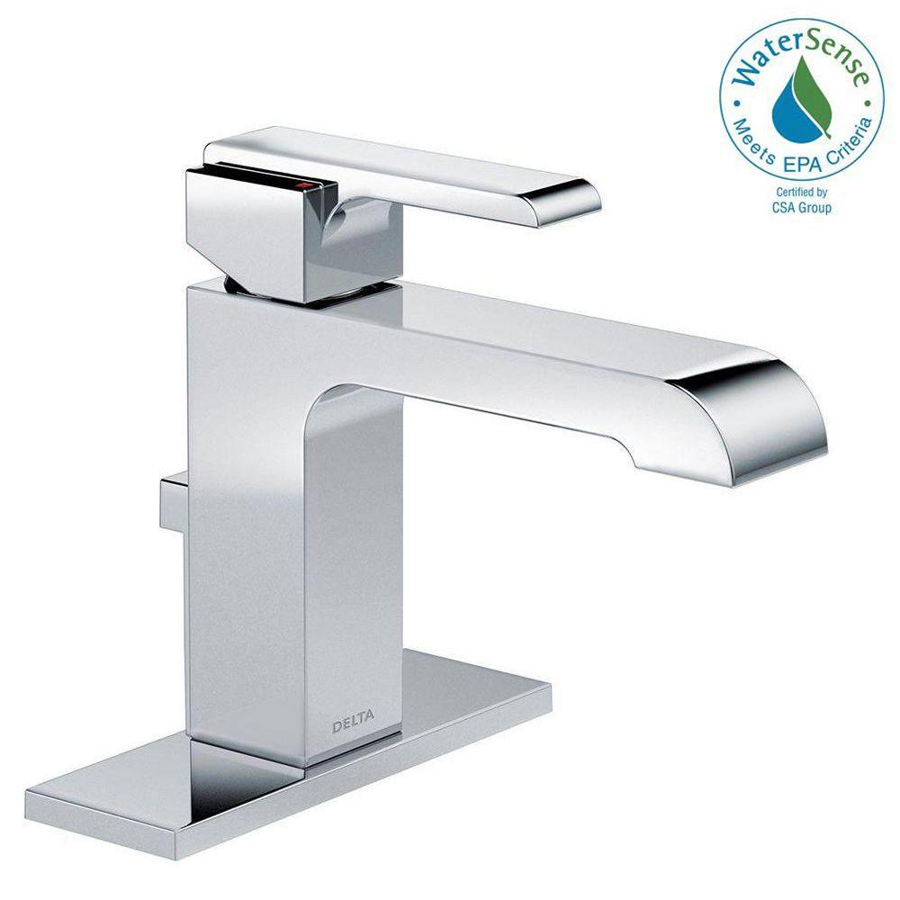MOEN Genta Single Hole Single-Handle Bathroom Faucet in Chrome ...