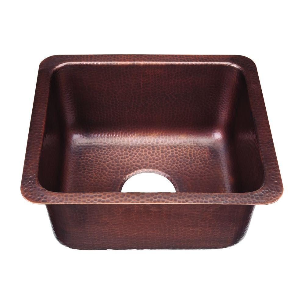 SINKOLOGY Escher Undermount Handmade Pure Solid Copper 17 in. 0-Hole Bar Prep Copper Sink in Antique Copper