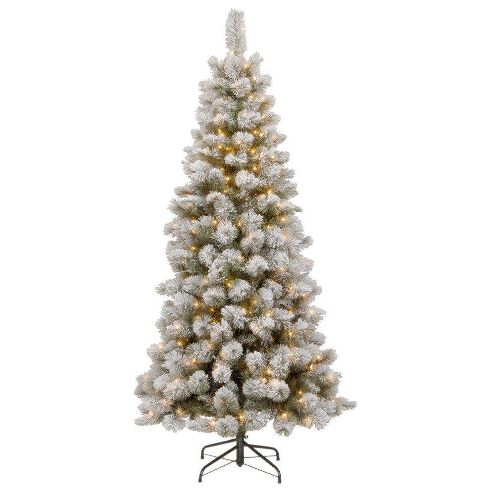 national tree company 75 ft snowy bristle pine slim pine artificial christmas tree with clear - Christmas Tree Slim