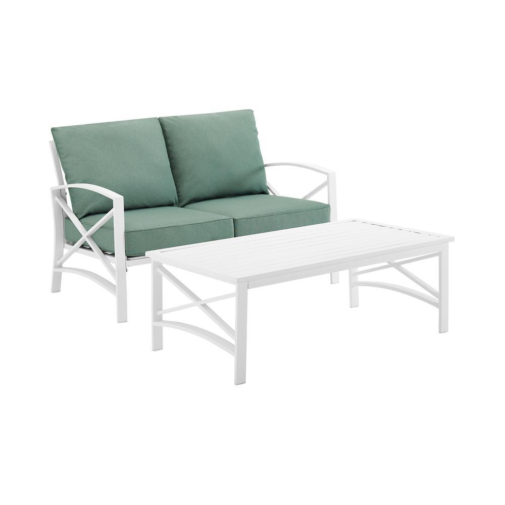 Kaplan White 2-Piece Metal Patio Conversation Set with Mist Cushions