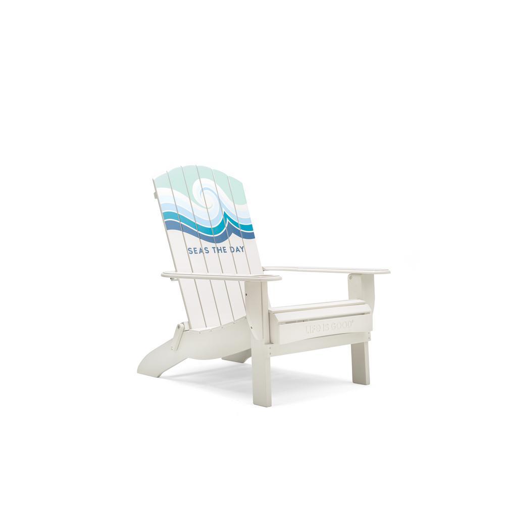 Seas the Day Cream Folding Acacia Wood Adirondack Chair