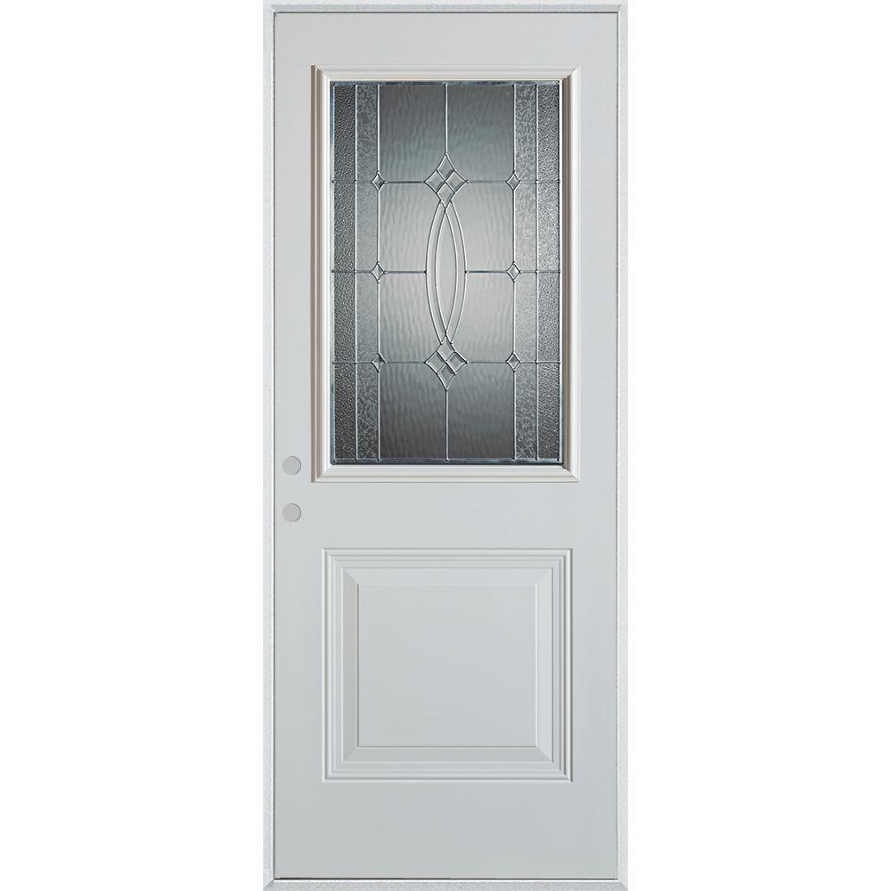 Stanley Doors 32 in. x 80 in. Diamanti Zinc 1/2 Lite 1-Panel Painted White Right-Hand Inswing Steel Prehung Front Door