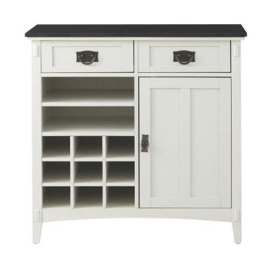 White Wood Bar Cabinet with Wine Storage (36 in. W)