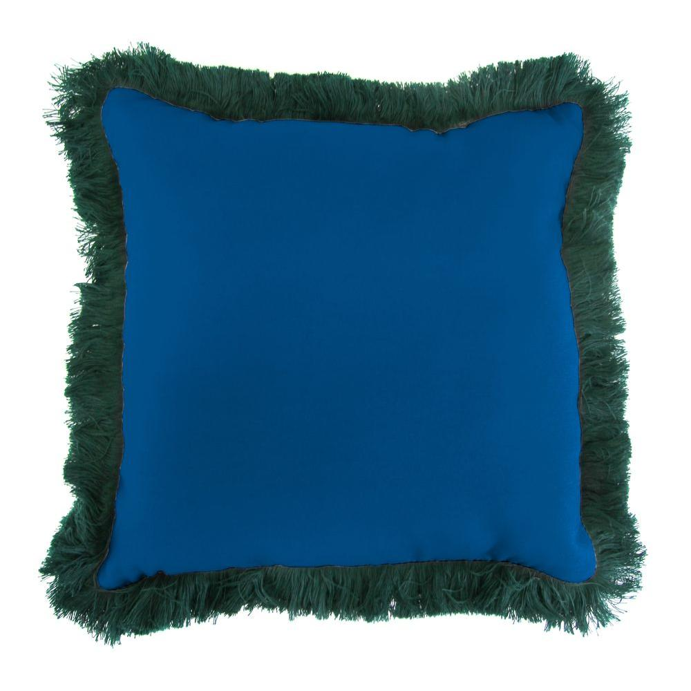 Sunbrella Canvas Navy Square Outdoor Throw Pillow with Forest Green Fringe