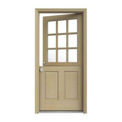 30 in. x 80 in. 9 Lite Unfinished Wood Prehung Right-Hand Inswing Dutch Back Door with AuraLast Jamb and Brickmold