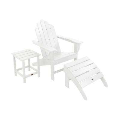 Long Island White 3-Piece Adirondack Patio Seating Set