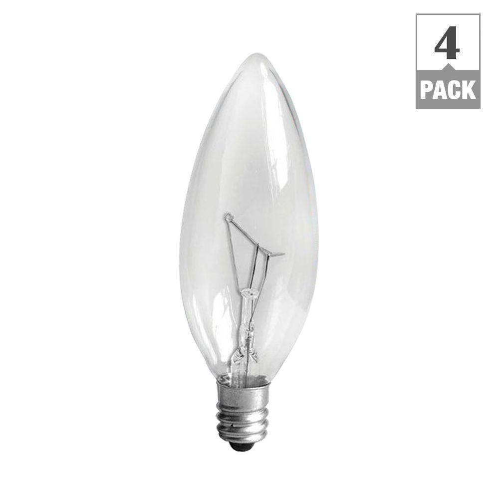 Ge 40 Watt Incandescent B10 Candelabra Base Double Life Multi Use Decorative Light Bulb 4 Pack