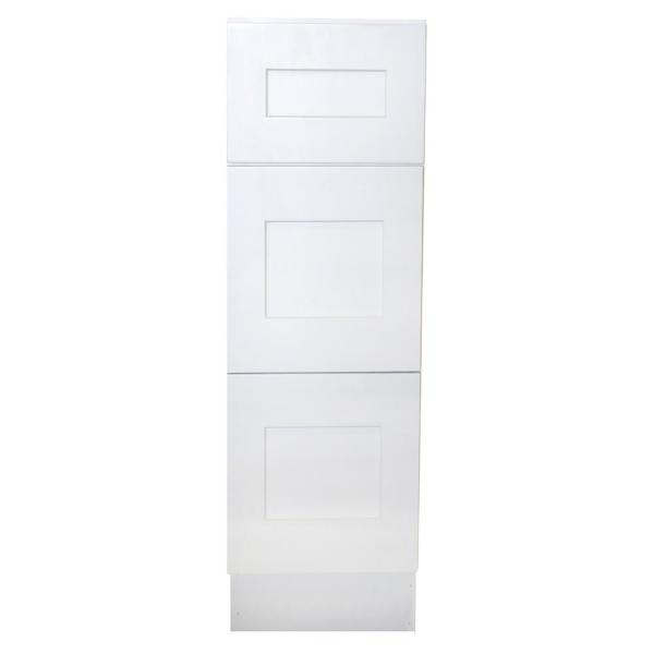 Ready to Assemble Shaker 15 in. W x 21 in. D x 34.5 in. H Vanity Cabinet with 3 Drawers in White