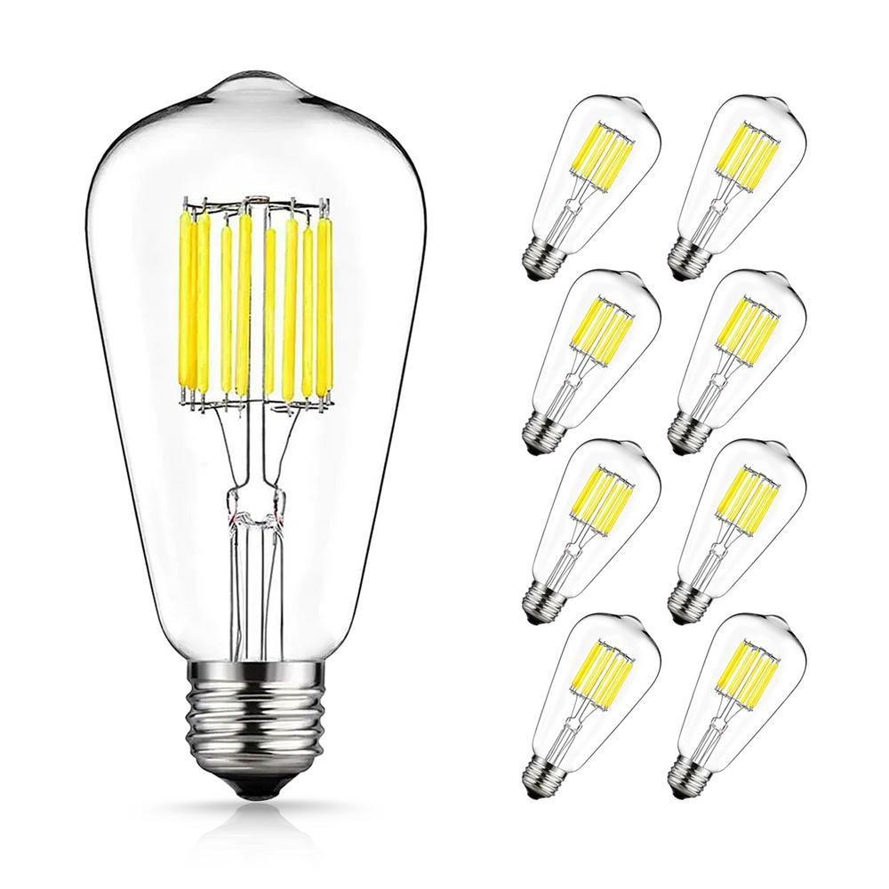 Yansun 100 Watt Equivalent St64 E26 Edison Led Light Bulb In Neutral White 8 Pack H Fb02005w10e26 8 The Home Depot