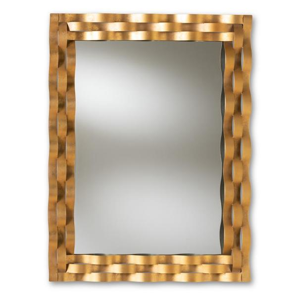 Large Rectangle Antique Gold Contemporary Mirror (42 in. H x 31.8 in. W)