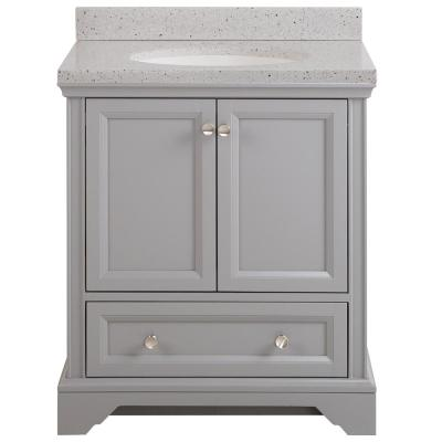 Stratfield 31 in. W x 22 in. D Bath Vanity in Sterling Gray with Solid Surface Vanity Top in Silver Ash with White Sink