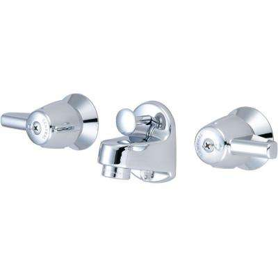 4 in. 2-Handle Low-Arc Wall Mount Bathroom Faucet in Polished Chrome