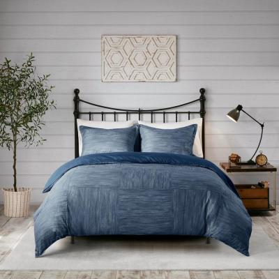 Clayton 3-Piece Navy King/Cal King Printed Seersucker Duvet Cover Set