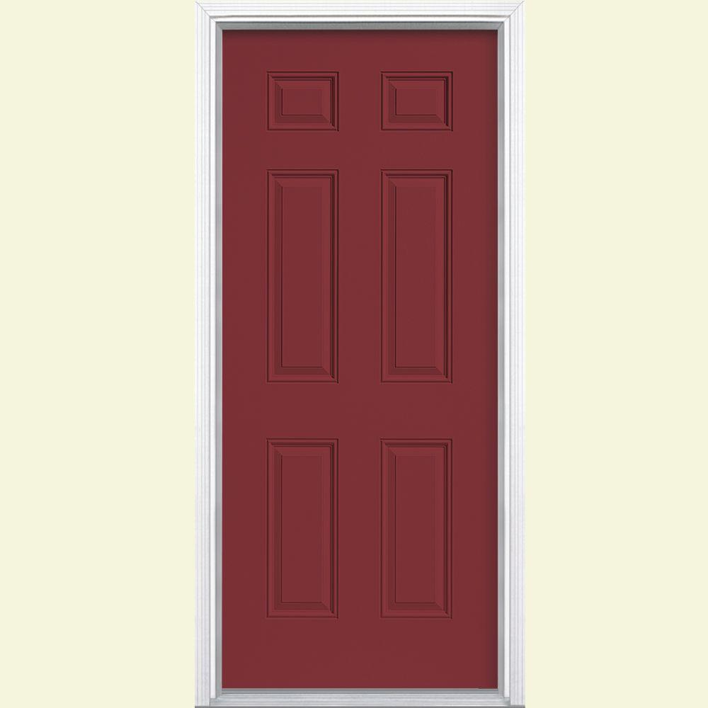 Masonite 32 in. x 80 in. 6-Panel Right-Hand Inswing Painted Steel Prehung Front Door with Brickmold