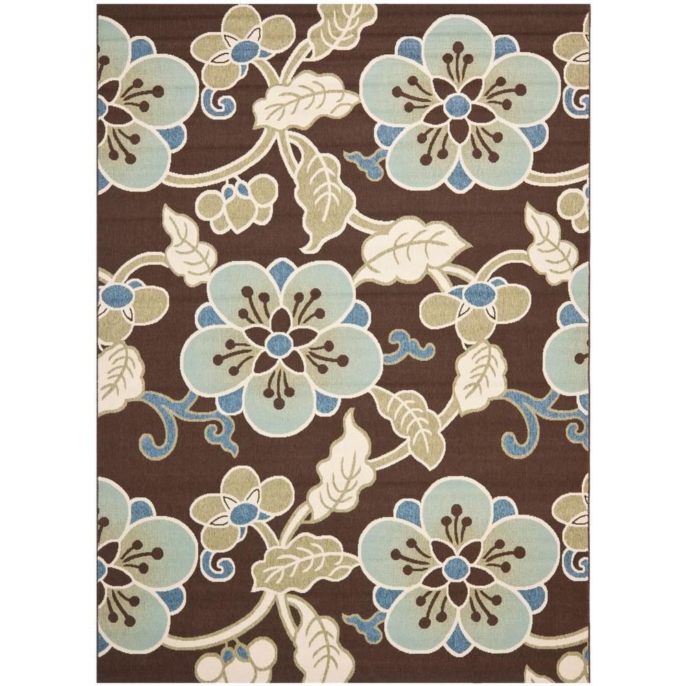 Veranda Chocolate/Aqua 8 ft. x 11 ft. 2 in. Indoor/Outdoor Area