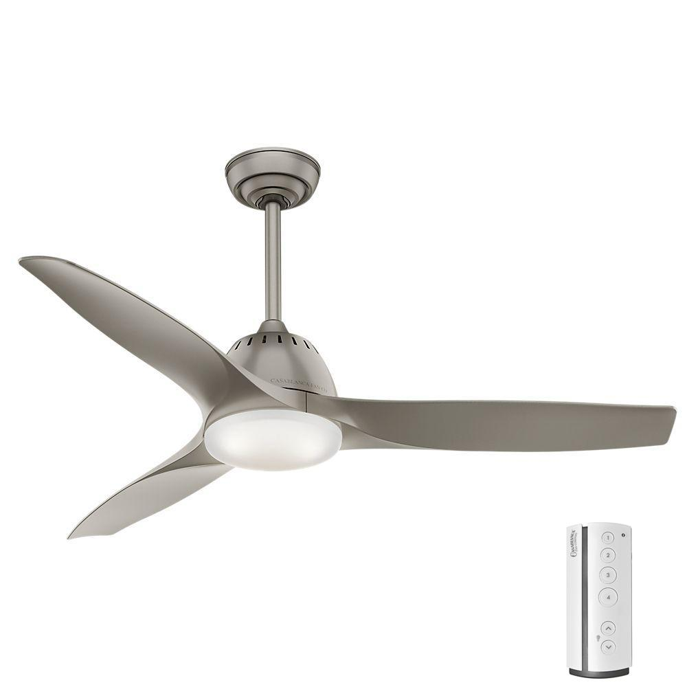 Wisp 52 in. LED Indoor Painted Pewter Ceiling Fan with Remote