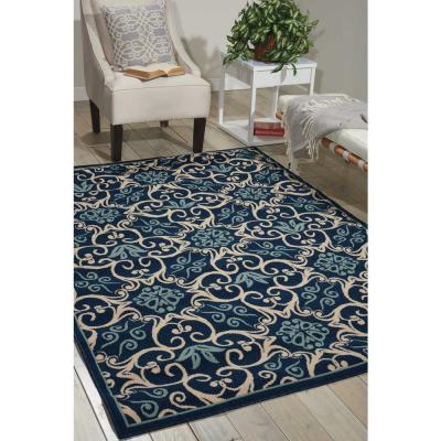 Caribbean Navy 5 ft. x 7 ft. Floral Modern Indoor/Outdoor Area Rug