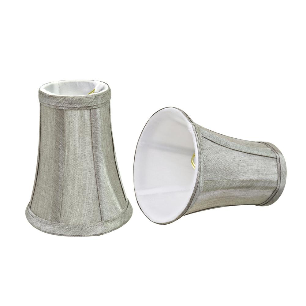 4 in. x 5 in. Silver Grey Bell Lamp Shade (2-Pack)