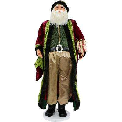 58 in. Christmas Dancing Santa with Jeweled Velvet Robe and Wrapped Gift