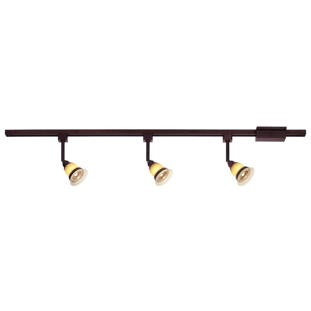 Hampton Bay Track Lighting Change Bulb: Hampton Bay 3-Light Antique Bronze Linear Track Lighting
