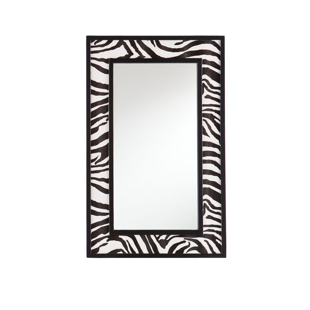 Southern Enterprises 32 in. x 20 in. Decorative Zebra Print Framed Mirror